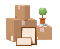 Move service box full vector illustration. Move box business. Craft box isolated on background. Box for moving, open box. Move business, moving box, relocation Stock Image