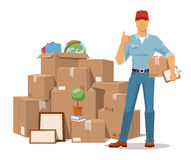 Move service man Ok hand box vector illustration Stock Photography