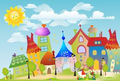 Move the spring by town. Composition with colorful houses and the girl that goes with wheelbarrows Stock Images
