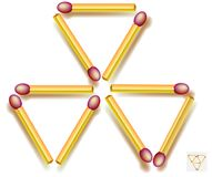 Move three matchsticks to make five triangles. Logic puzzle game. Stock Image