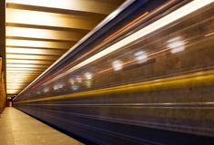 Move train in subway Stock Photography