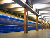 Move train in subway Stock Photo