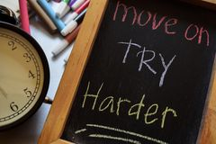 Move on try harder royalty free stock image