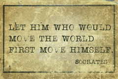 Move world print. Let him who would move the world - ancient Greek philosopher Socrates quote printed on grunge vintage cardboard Royalty Free Stock Photography