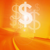 Move Your Business. Dollar Symbol on orange road vector illustration