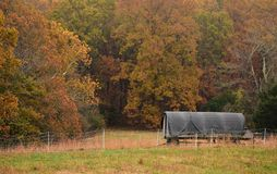 Moveable chicken coop in the fall Stock Photos