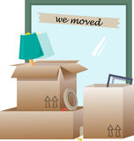 We Moved. Vector illustration of open boxes with items inside and around them. Eps10 Royalty Free Stock Photo