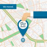 We are moved, changed address, moving concept. Vector flat illustration of a hand dragging a pin on the city map vector illustration
