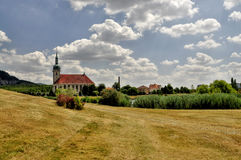 Moved church. Most city in the Czech Republic Stock Photo