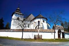 The Virgin Mary church from Liptovska Mara - Museum of Liptov village - open-air museum in Pribylina. The moved church from the village of Liptovska Mara due to royalty free stock photos