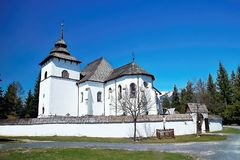 The Virgin Mary church from Liptovska Mara - Museum of Liptov village - open-air museum in Pribylina. The moved church from the village of Liptovska Mara due to stock photo