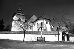 The Virgin Mary church from Liptovska Mara - Museum of Liptov village - open-air museum in Pribylina. The moved church from the village of Liptovska Mara due to royalty free stock photography