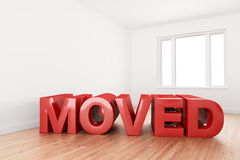 Moved sign in empty home Stock Photography