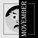 Movember - der Kopf eines Mannes mit dem Schnurrbart Lizenzfreies Stockfoto