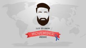 Movember - månad för medvetenhet för vård- frågor för för prostatacancer och man Manframsida med skägget och mustasch eller musta vektor illustrationer
