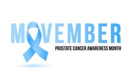 Movember men health man prostate cancer awareness November month vector blue ribbon. Movember men health man prostate cancer awareness month poster. Vector Stock Photography