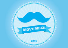 Movember mustache logo badge. Movember logo badge mustache stock illustration