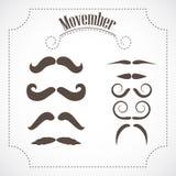 Movember mustache set Stock Photography