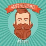 Movember-Plakatdesign, Prostatakrebsbewusstsein, Hippie-Mann mit Bart und Schnurrbart lizenzfreie abbildung
