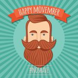 Movember poster design, prostate cancer awareness, hipster man with beard and moustache. Vector illustration royalty free illustration