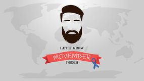 Movember - Prostatakrebs-und -mann-Gesundheitsproblem-Bewusstseins-Monat Mann-Gesicht mit Bart und Schnurrbart oder Schnurrbart W vektor abbildung