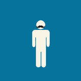 Movember prostate cancer awareness graphic. Movember prostate cancer awareness - stick figure with mustache on blue background Stock Images