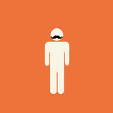 Movember prostate cancer awareness. Stick figure with mustache on orange background Stock Images