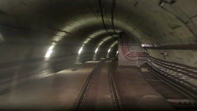 The movement along the rails in the subway. Tunnel stock video