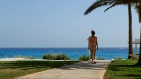 In movement, back view of a blonde woman in swimsuite and tunic walking to the beach through a path along the azure. In movement, back view of a beautiful blonde stock video
