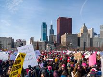 2018 Women's March Chicago. The crowds and skyline. GRANT PARK, CHICAGO-January 20, 2018. Women's March Chicago. A view of the crowd at Congress Stock Photos