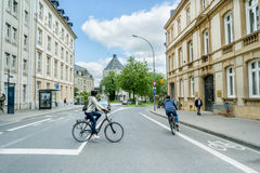 Movement of bicyclists on Luxembourg Royalty Free Stock Photography