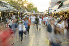 Movement blurred Unidentified tourist shoppings at Jatujak Market,JJ mall is the largest market and best market for tourist  in Th Royalty Free Stock Images