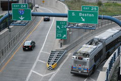 Movement in Boston. A little transportation on the roads of Boston Stock Images