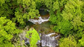 Movement camera over beauty waterfall, 4k stock video