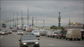 Movement of cars in the center of St. Petersburg. Time lapse.  stock footage