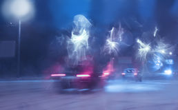 Movement of cars in the winter Royalty Free Stock Images
