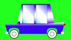 Movement cartoon car on a green background stock video footage