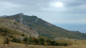 Movement of the clouds on the mountain bay Laspi. Crimea, Ukraine (TimeLapse) stock footage