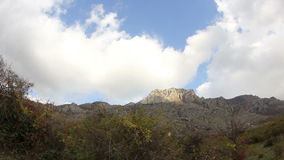 Movement of the clouds on the mountain Demerdji. stock video footage