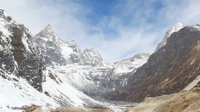 Movement of the clouds on the mountains Cho Oyu, Himalayas, Nepal stock video