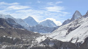 Movement of the clouds on the mountains Everest, Gyazumba Glacier stock footage