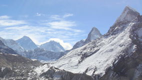 Movement of the clouds on the mountains Everest, Gyazumba Glacier. stock footage