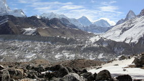 Movement of the clouds on the mountains Everest, Gyazumba Glacier stock video footage