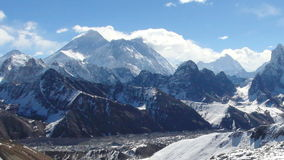 Movement of the clouds on the mountains Everest, Renjo Pass stock video footage