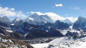 Movement of the clouds on the mountains Everest, Renjo Pass. stock footage