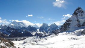 Movement of the clouds on the mountains Everest, Renjo Pass stock footage