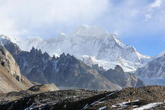 Movement of the clouds on the mountains Gyazumba Glacier, Himala Stock Photography