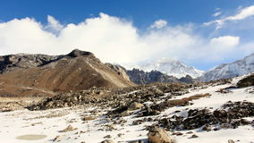 Movement of the clouds on the mountains Gyazumba Glacier. stock footage