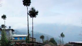 Movement of the clouds on the mountains Himalayas, Koshigaun village, Nepal stock footage