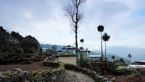 Movement of the clouds on the mountains Himalayas, Koshigaun village, Nepal stock video